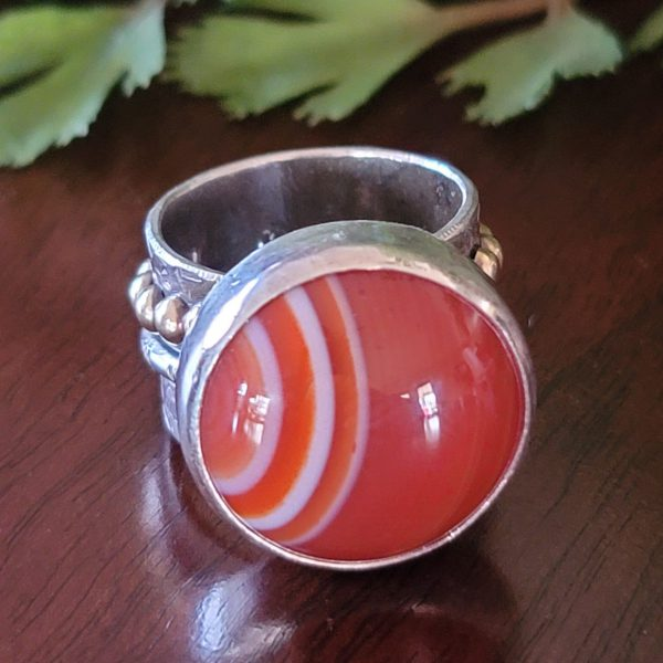 red banded agate wide band ring