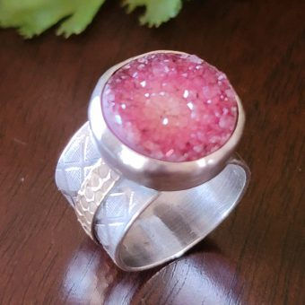 pink druzy wide band ring Michele Grady