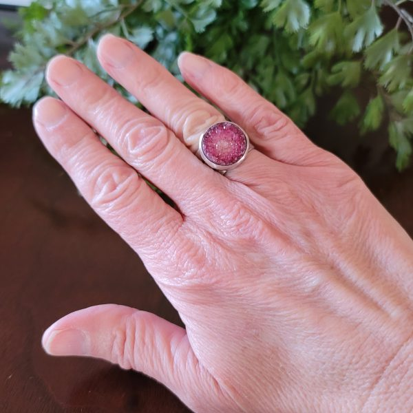 pink druzy wide band ring