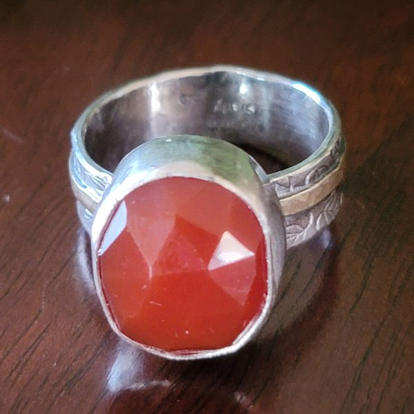 rose cut red agate ring Michele Grady