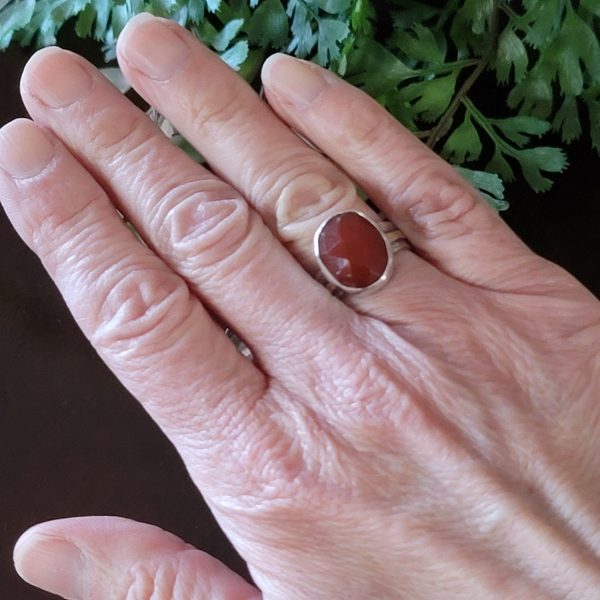 rose cut red agate ring