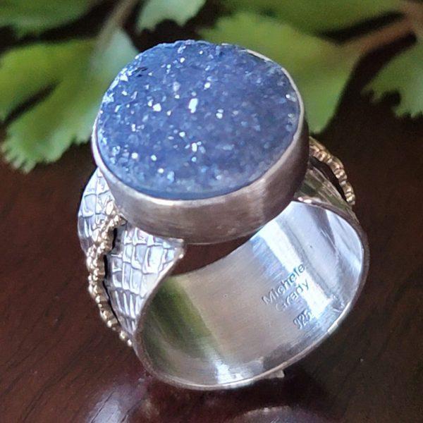 blue druzy wide band ring Michele Grady