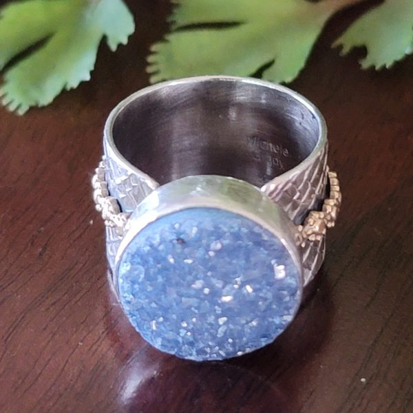 blue druzy wide band ring