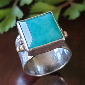 amazonite wide band ring Michele Grady
