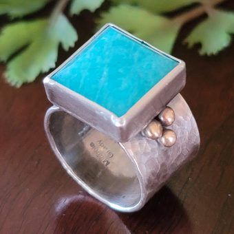 amazonite wide band ring