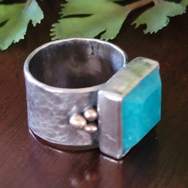 amazonite wide band ring
