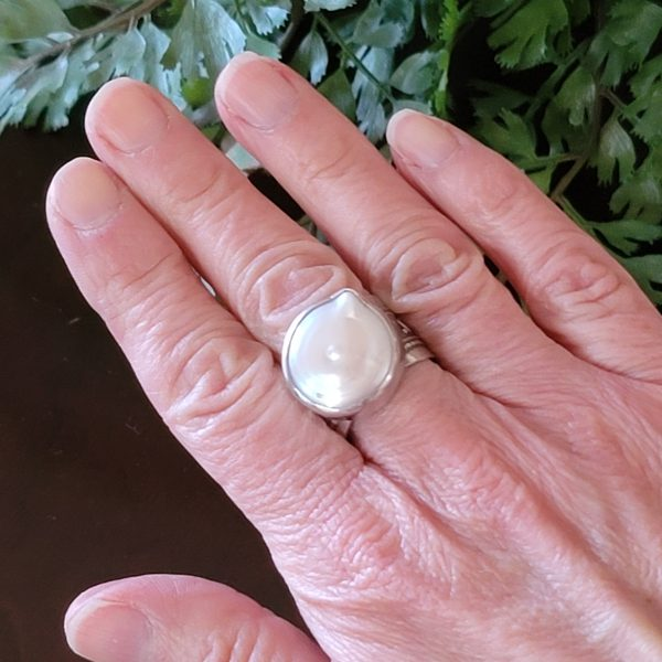coin pearl wide band ring