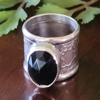 rose cut black onyx wide band ring Michele Grady