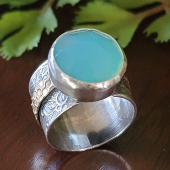 blue chalcedony wide band ring