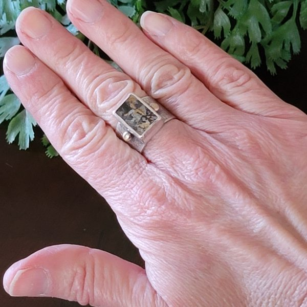 dendritic agate wide band ring