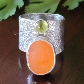 carnelian peridot wide band ring Michele Grady