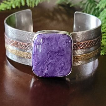 charoite mixed metal cuff