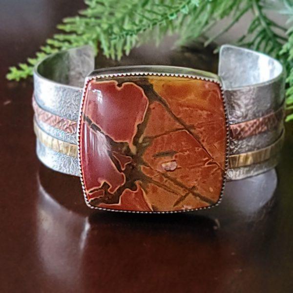 cherry creek jasper mixed metal cuff