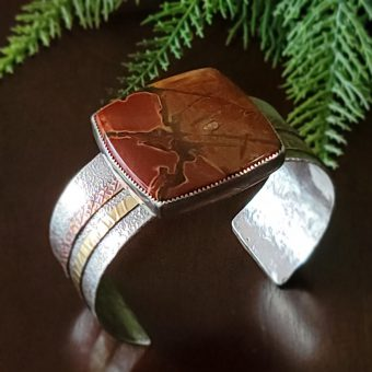 cherry creek jasper mixed metal cuff