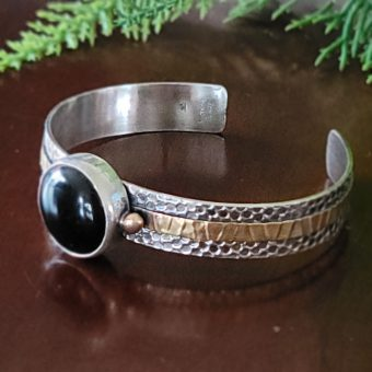 black onyx mixed metal cuff