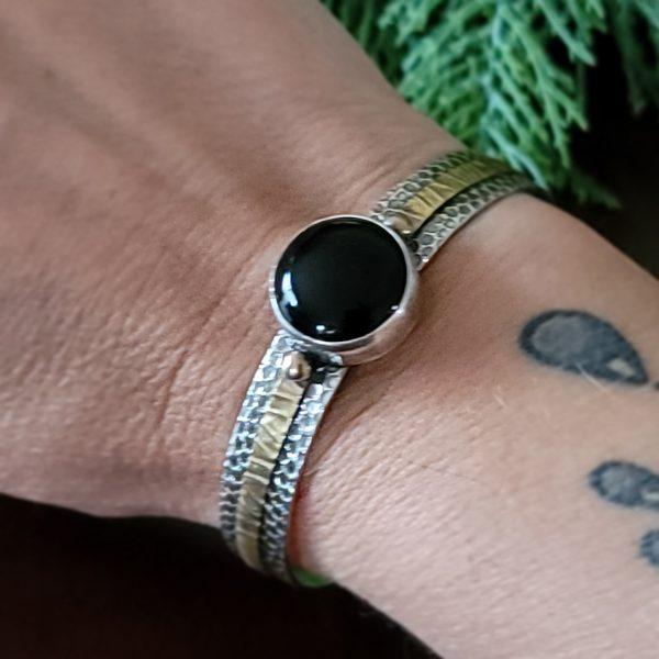 black onyx mixed metal cuff