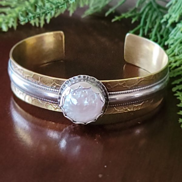 Coin Pearl Mixed Metal Cuff