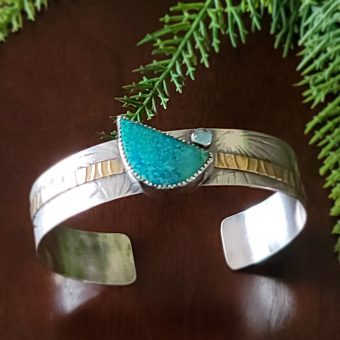 Chrysocolla Mixed Metal Cuff