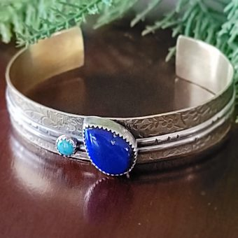 Lapis Mixed Metal Cuff