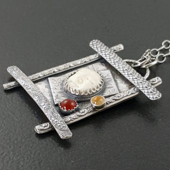 Sleeping Beauty Carved Bone Necklace