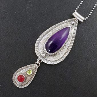 Amethyst Ruby Peridot Necklace