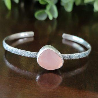 rose quartz stacking cuff