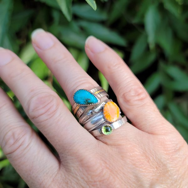 Turquoise Stacking Rings Size 8.5