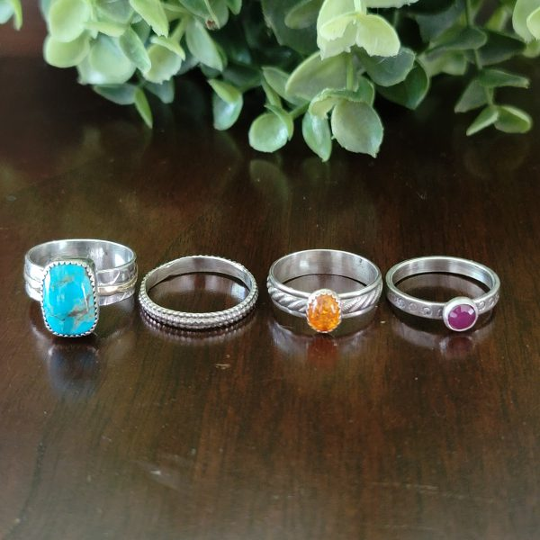 Turquoise Stacking Rings Size 9