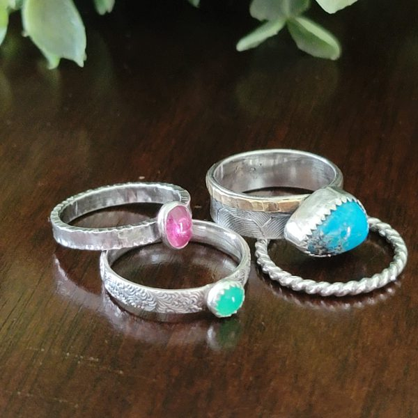Turquoise Stacking Rings Size 6.5