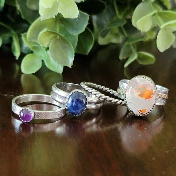 Fire Opal Stacking Rings Size 8