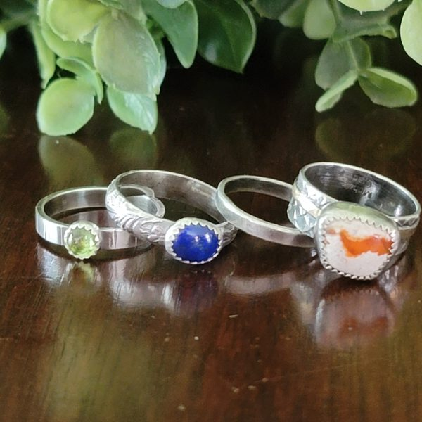Fire Opal Stacking Rings Size 5