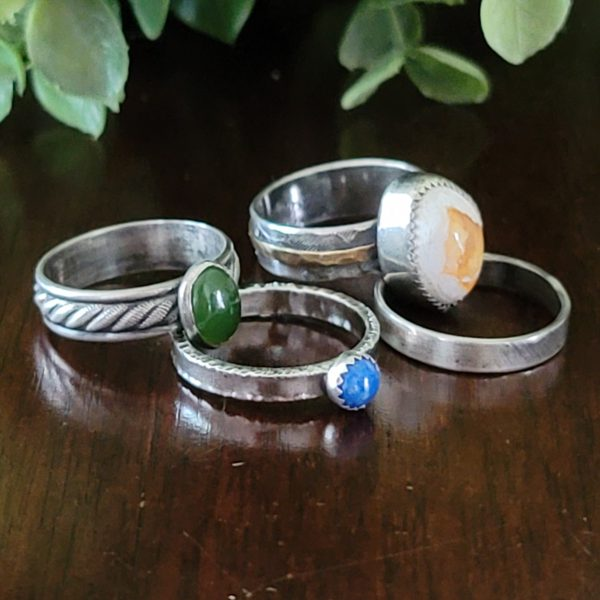 Fire Opal Stacking Rings Size 6